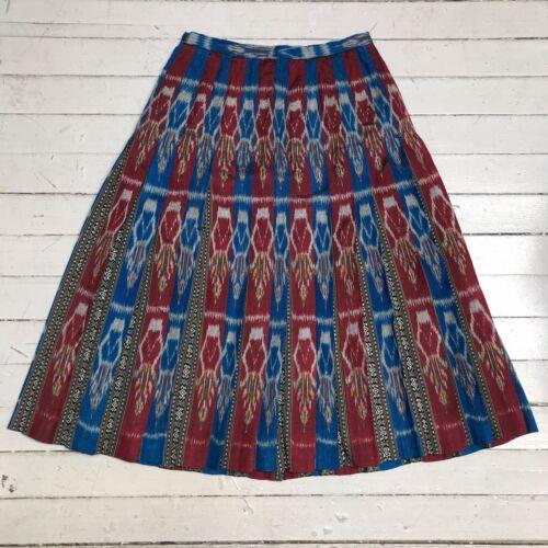 Pleated Woven Silk Ikat Folk Dance Skirt Blue Red