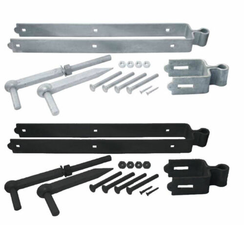 DOUBLE STRAP ADJUSTABLE Farm GATE HINGE SLOTTED BAND in GALVANISED//BLACK D18