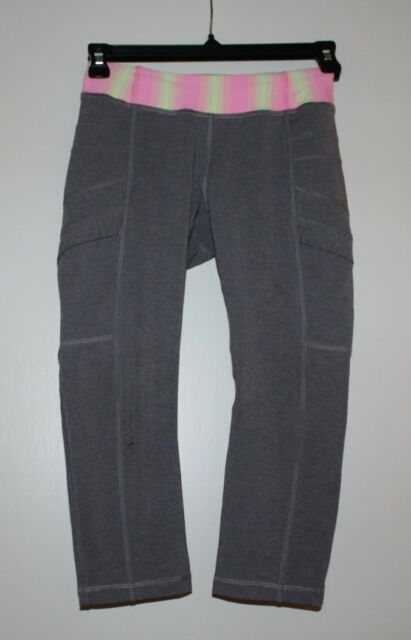 5b252cb1f6 Ivivva by Lululemon Heathered Gray Cinch Crop Leggings Reflective ...
