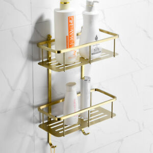 Details About Bathroom Shelves Gold Brushed SUS304 2 Tiers Corner Shelf  Shower Caddy Storage