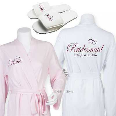 Personalised Luxury Cotton Wedding Robe Dressing Gown Bride Bridal Slippers Gift QualitäTswaren