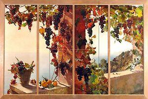 View from window grape vine sea R. MERCIER Tile Mural Backsplash Marble Ceramic