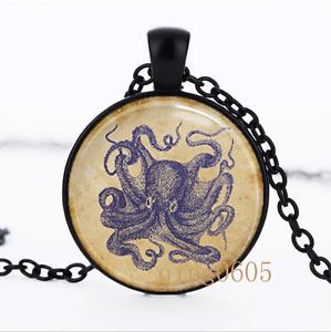 Vintage Bleu Octopus Photo dôme en verre noir chaîne collier pendentif en gros