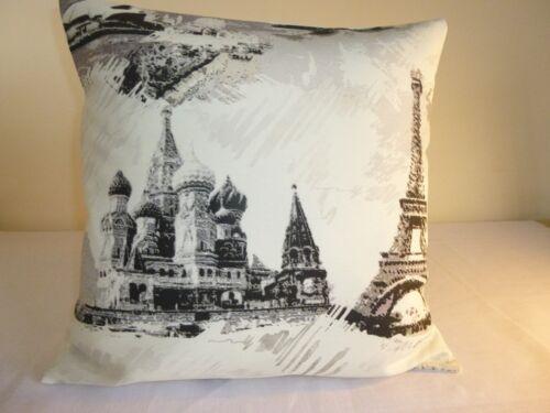 """16/"""" New Designer Housse de Coussin Ville Monuments Paris Tour Eiffel Moscou La Russie"""