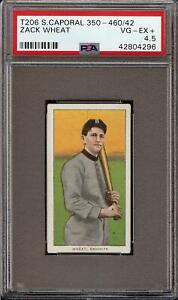 Rare 1909-11 T206 HOF Zack Wheat Sweet Caporal 350-460 Brooklyn PSA 4.5 VG-EX +