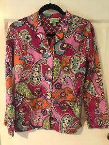 Vera Bradley Paisley Colorful drawstring 100% cotton pajama set Sz XS NWOT