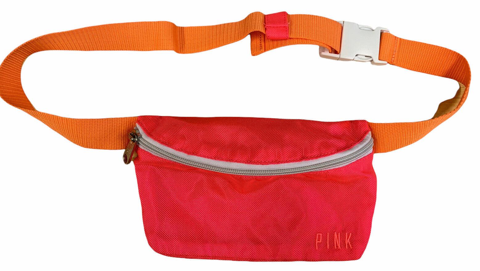 Pink Victorias Secret Fanny Pack Adjustable Waist Zip Closure Cotton Canvas