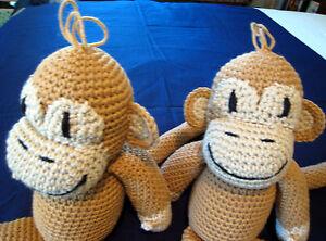 2 HANDMADE Knit CROCHET of MONKEY Stuffed ANIMAL a PLUSH DOLL Toy CURIOUS GEORGE