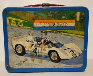 Vintage-1967-Auto-Race-Metal-Lunch-Box-Game-No-Thermos-King-Seeley