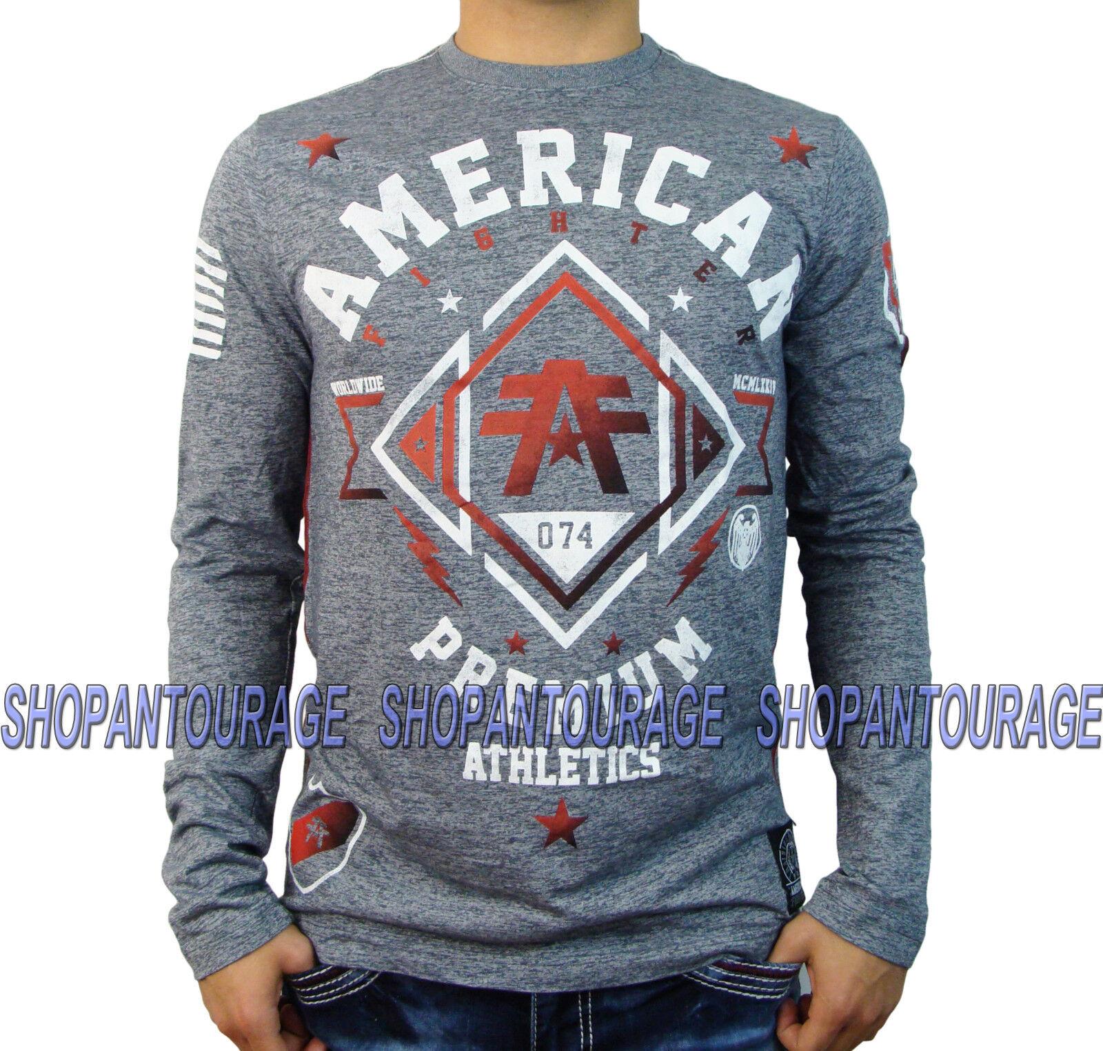 American Fighter Arlington FM1218 Men`s New Grey L S T-shirt By Affliction