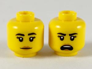 LEGO Minifigure Female Black Eyebrows Medium Flesh Lip Neutral Shouting S19FireF