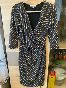 Max Mara Midi Bodycon Lined Wool Lana V-Neck Warped Dress Size - IT 44 / UK 12