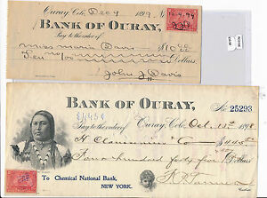 RC0156 1899 check bank of ouray with stamps combine