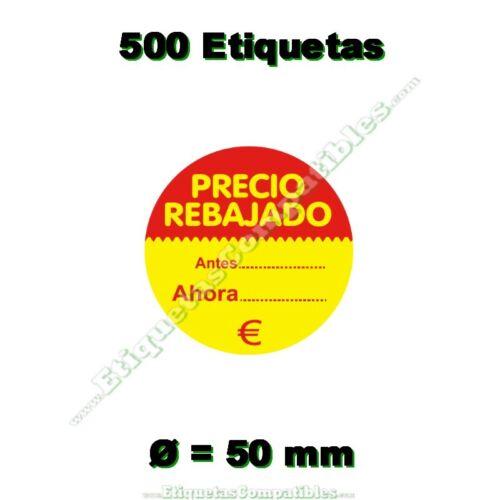1 Rollo de 500 Etiquetas Adhesivas Precio Rebajado de 50 mm de diámetro