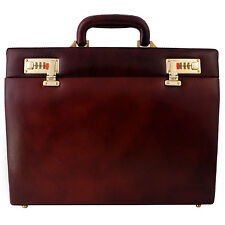 Men Hard Briefcase Genuine Leather Attache Doctor Lawyer Bag Slim Vintage Style
