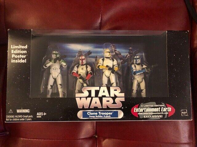 Estrella Wars Clone Trooper Builder 4 pack de Color limitada Entertainment tierra nunca quitado de la caja