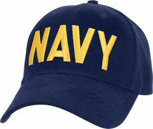 f4d36f6d9d6 Navy Blue   Gold US Navy Hat Adjustable USN Embroidered Military ...