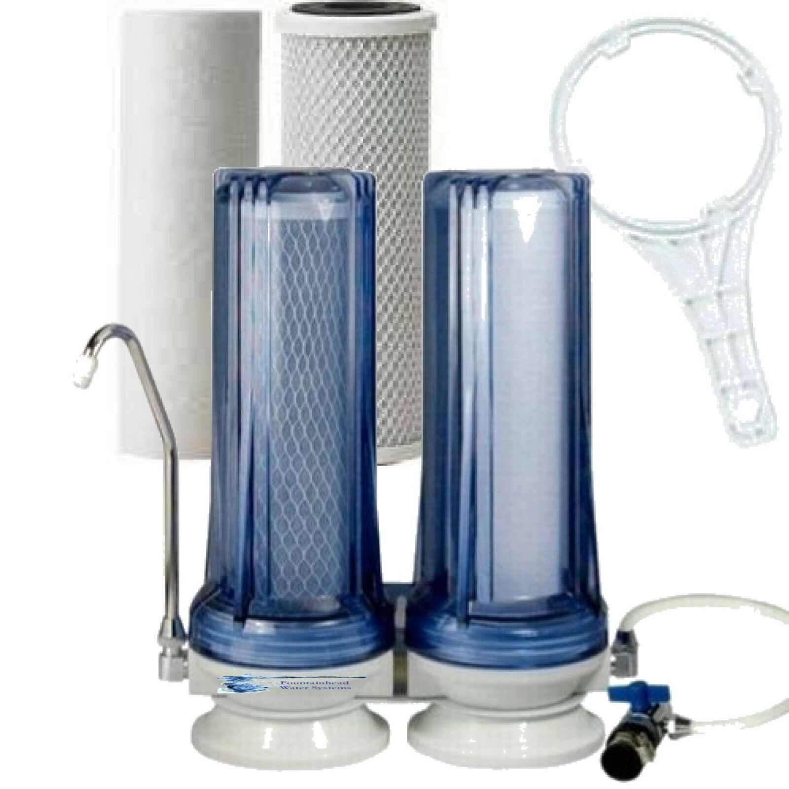 FOUNTAINHEAD COUNTER TOP CLEAR COMPLETE WATER FILTER SYSTEM  FAUCET ADAPTER