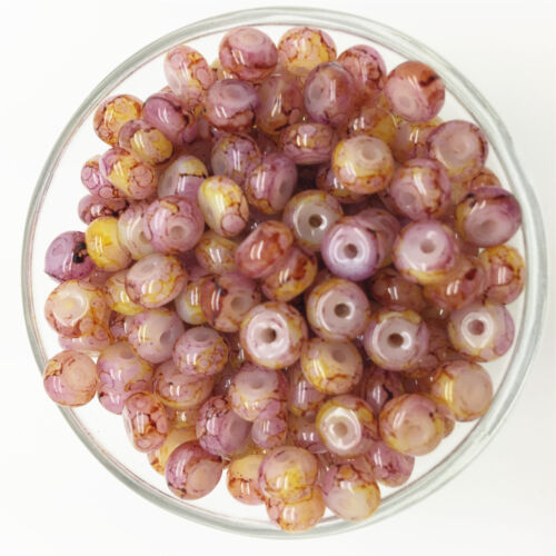 NEW 50PCS 6mm Glass Oblate Pearl Spacer Loose Beads Pattern Jewelry Making UK