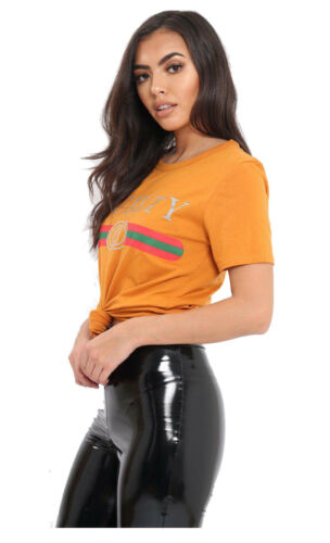 New Women Ladies Girl Guilty Slogan Striped Print T-Shirts Vest Top Stripe Black