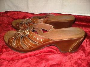 Block Heel Sandals Brown Leather Shoes