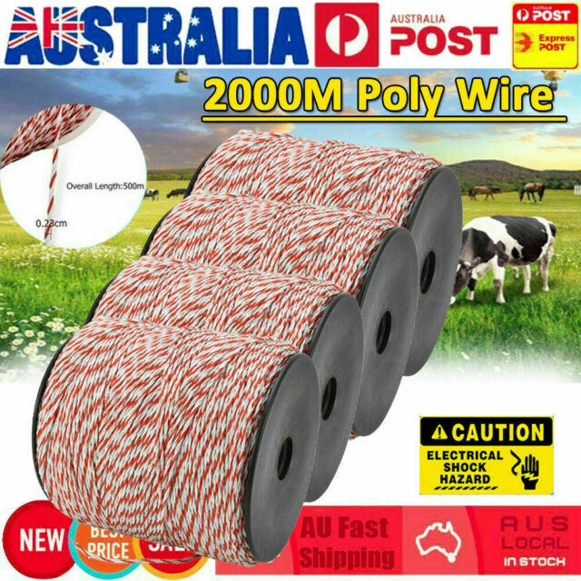 Stainless 2000m 2.3MM Polywire Roll Electric Fence Energiser Poly Wire Insulator