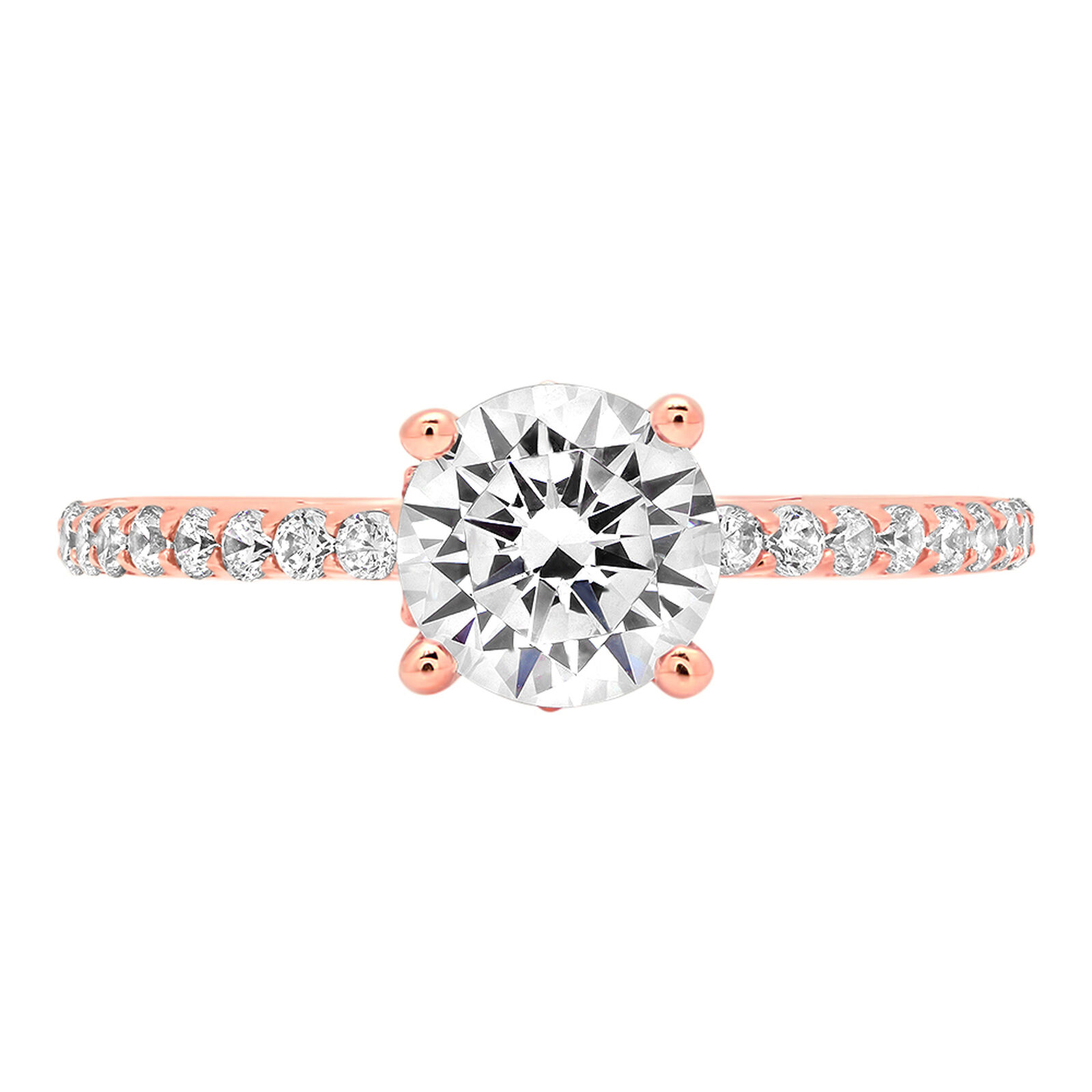 1.54 ct Round Cut Accent Solitaire Engagement Wedding Bridal Ring 14K pink gold