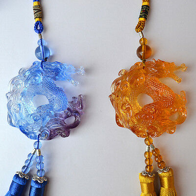 Liuli Crystal Dragon Car Hanging Ornaments Feng Shui Amulet Pendant Charm Gifts