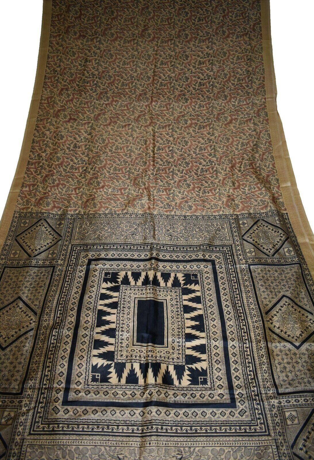 Vintage Printed Saree Brown Pure Silk Floral Print Sari Design Craft IPR-6808