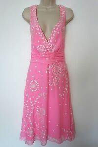 Vintage-Temperley-London-Pink-Silk-Dress-with-Embroidery-UK-size-8