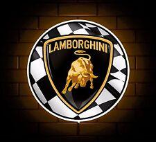 LAMBORGHINI BADGE SIGN LED LIGHT BOX MAN CAVE GARAGE GAMES ROOM BOYS GIFT