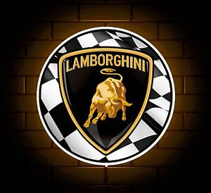 Lamborghini Badge Sign Led Light Box Man Cave Garage Games Room Boys