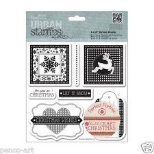 Papermania craft Christmas Urban stamp set of 7 stamps snowflake reindeer tags