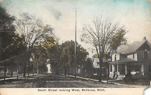 Bellevue-Michigan-South-Street-West-Homes-on-Dirt-Road-Corner-House-1908-PC