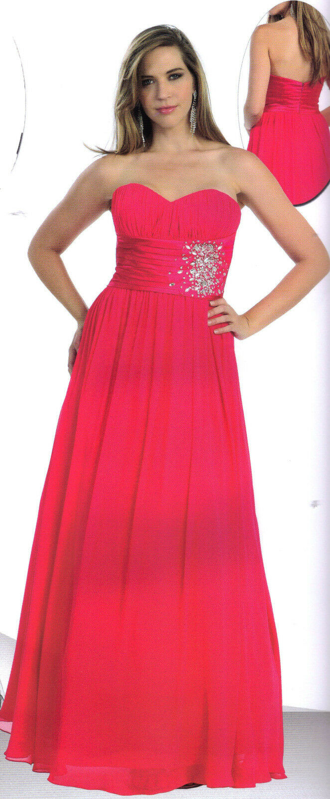 Coral PAGEANT DANCE PARTY LONG PROM FORMAL OCCASION DRESS BALL GOWN  SZ  12
