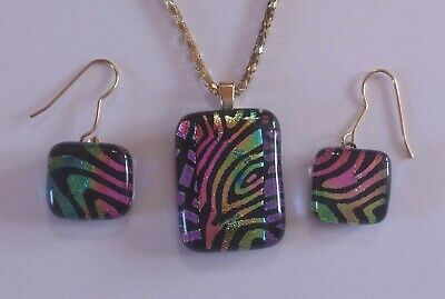 Pink Fused Dichroic Art Glass Jewelry Clip On Earrings Handmade FREE shipping S