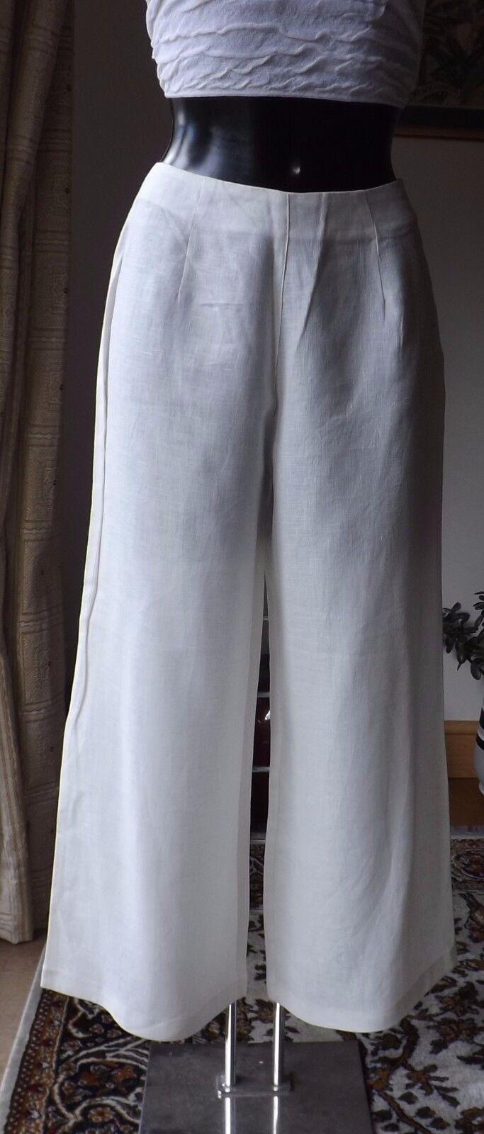 Women wear Sarah Pacini high waist 100% Linen Ivory size3 trousers7163 BNWT