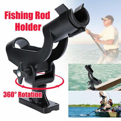 Black Adjustable Fishing Rod Pole Mount Stand Bracket Holder Kit For Canoe Boat