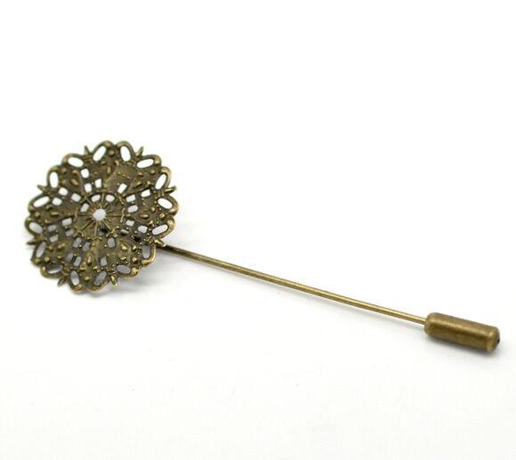 10 Support de Broche Bijoux DIY Epingle Fleur Filigrane Bronze 7.5x2.5cm