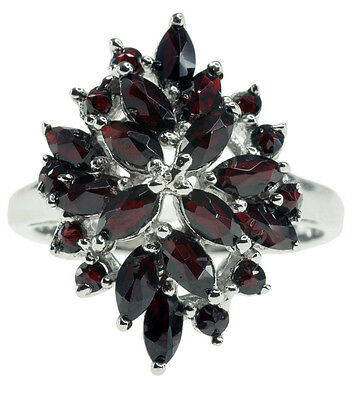 Black Garnet Gemstone Rose Cut Cluster Sterling Silver Ring