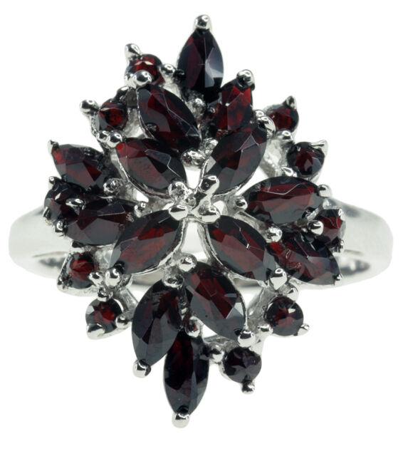 Black Garnet Gemstone Rose Cut Cluster Sterling Silver Ring