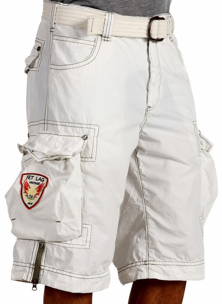 JET LAG Men's Cargo Shorts - LCY - WHITE with Removable Belt - NEW - 1219 Jetlag