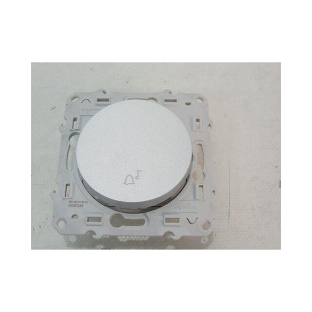 Poussoir 10AX 250V aluminium à fermeture symbole cloche sans plaque ODACE SCHNEI