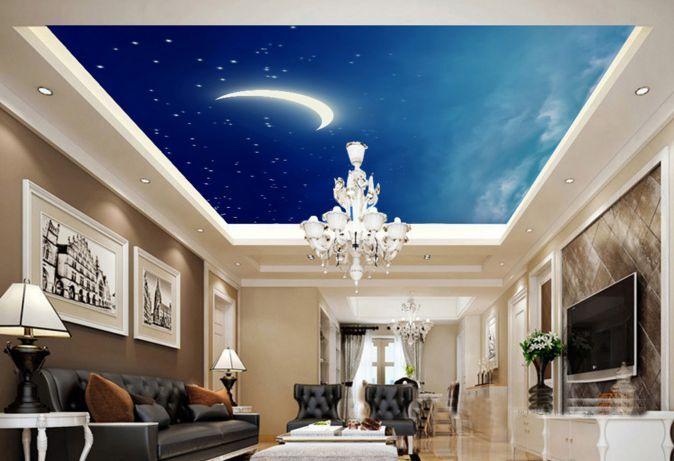 3D Nacht Mond, Sterne 5466 Fototapeten Wandbild Fototapete BildTapete Familie DE