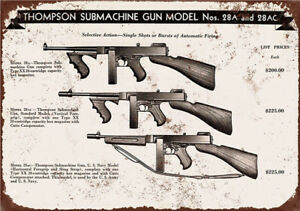 Metal-Tin-Sign-thompson-submachine-gun-Home-Vintage-Retro-Poster-Cafe-ART
