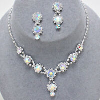 Elegant Prom Bridal Pageant Formal Jewelry Ab Clear Crystal Necklace Set Wow