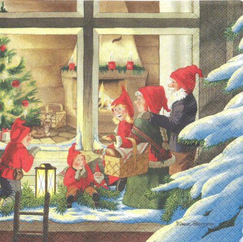 Lot de 2 Serviettes en papier Lutins Noël Decoupage Collage Decopatch