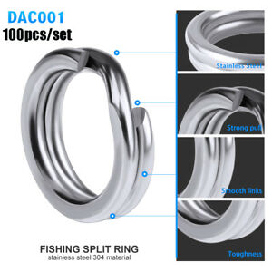 Double Durable Fish Connector Swivel Snap Fishing Split Rings Stainless Steel
