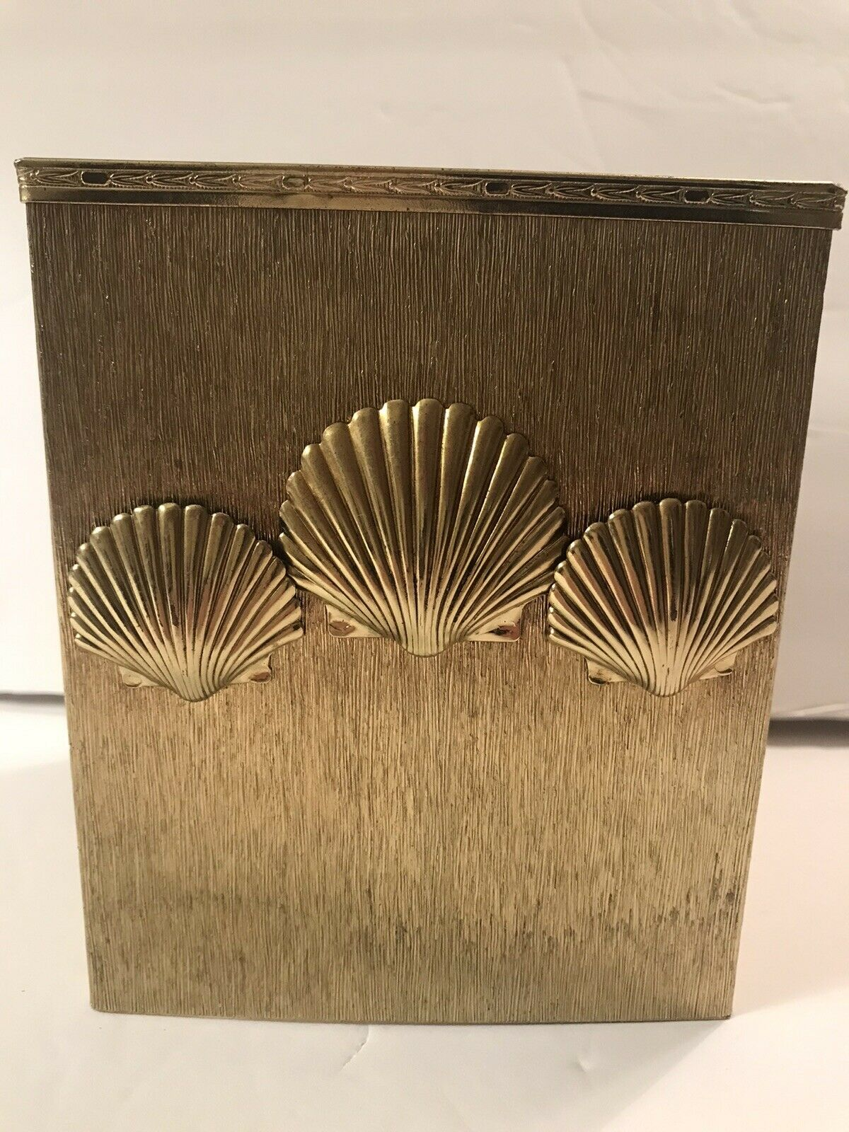 Elegant Metal Tissue Box Box Cover Clam Shells on Front Brushed Brass Color