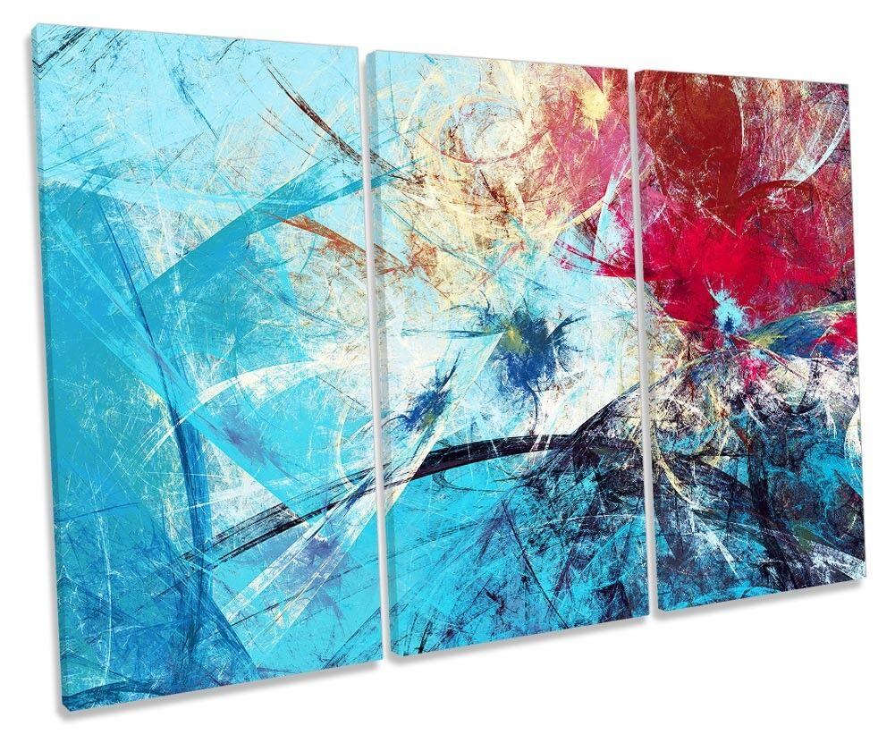 Blau Abstract rot Grunge Framed TREBLE CANVAS PRINT Wall Art